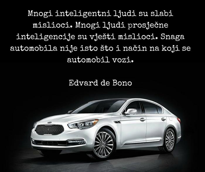 Mnogi inteligentni ljudi su slabi mislioci. Mnogi ljudi prosječne inteligencije su vješti mislioci. Snaga automobila odvojena je od načina na koji se automobilom upravlja. Edvard de Bono